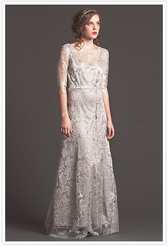 Grey lace wedding dress by Sarah Seven
