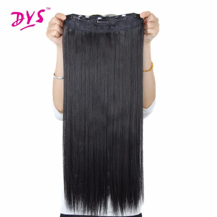 Deyngs 5 Clips Natural straight Clip In Hair Extention 24inch 3/4 Full Head Clip in HairPieces Long Fake False Synthetic Hair