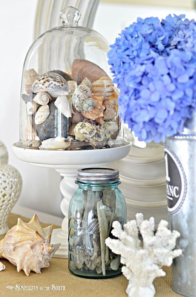 (glass-cloche-with-sea-shells) - love the aqua jar - so beachy!