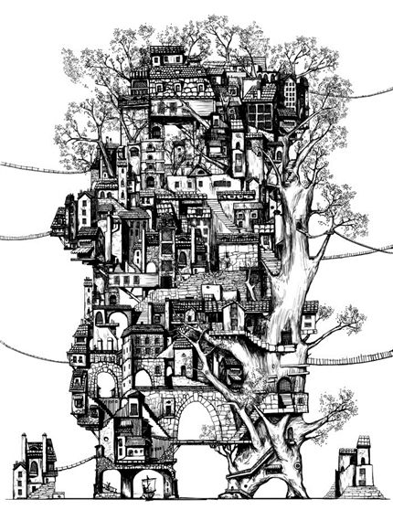 A fine art print entitled Tree City by Artpi!