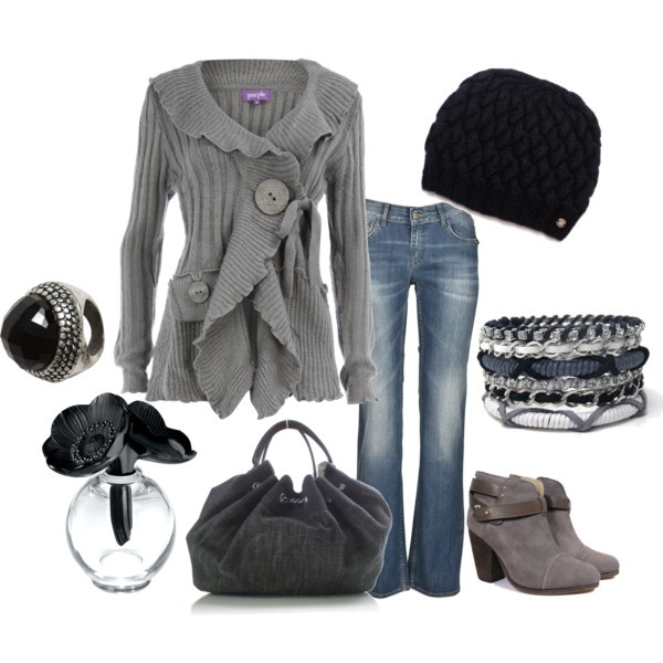 black & grey: Casual Friday, Dreams Closet, Clothing Sho, Color, Fall Wins, Cute Outfits, Grey Sweaters, Black, Engagement Rings