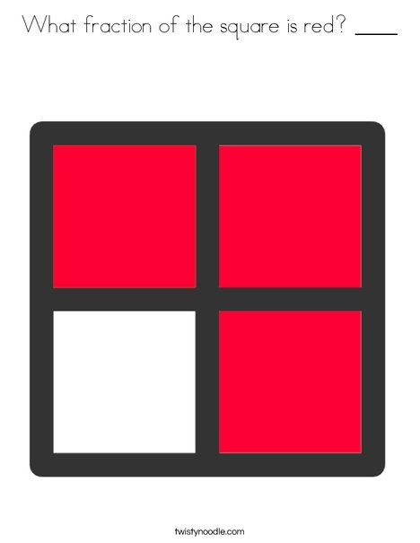 What fraction of the square is red ____ Coloring Page - Twisty Noodle