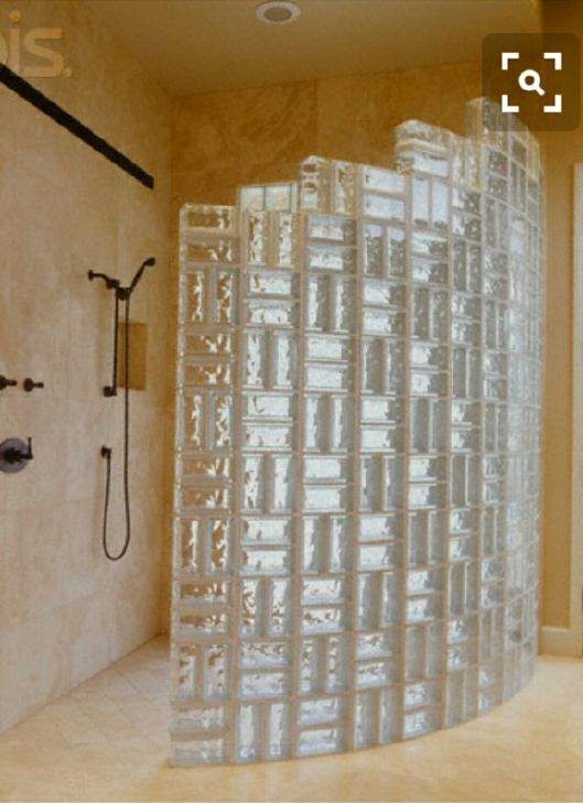 Semi Circular Marble Shower With Glass Block Wall