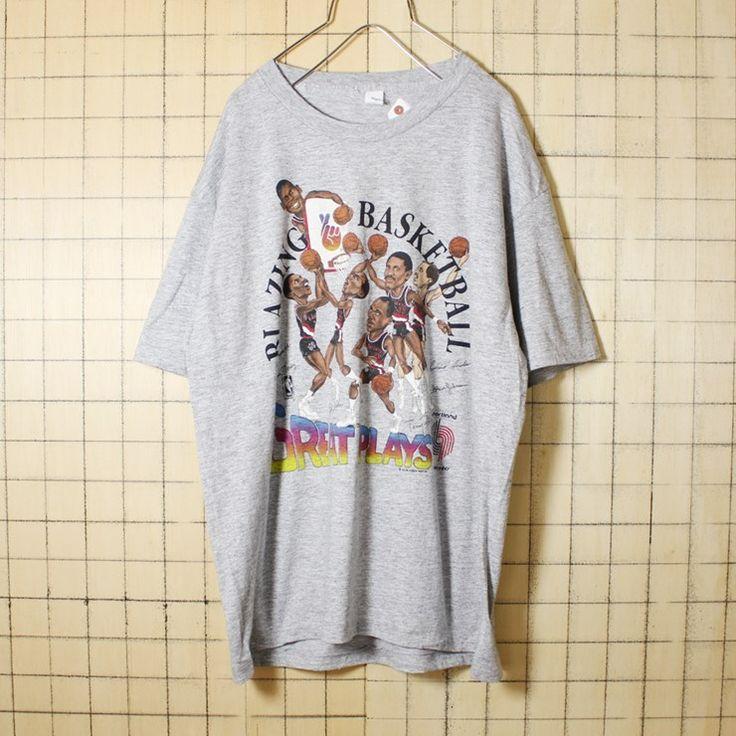 USA製 古着 霜降り 杢 グレー プリント Tシャツ 半袖 NBA BLAZING BASKETBALL GREAT PLAYS メンズXL sportswear アメリカ古着