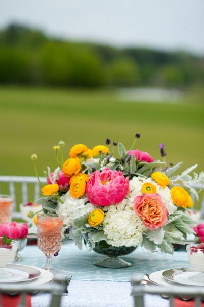 17 best images about fuchsia yellow inspiration on - Red and yellow centerpieces ...