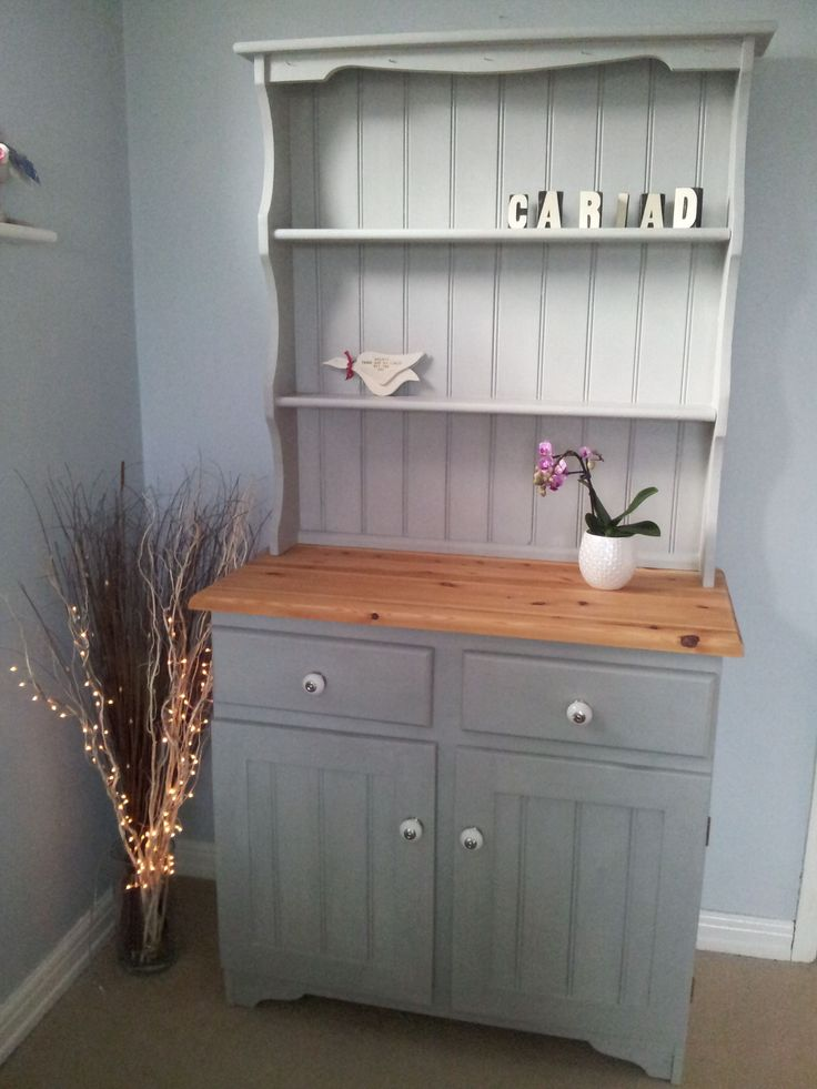 Upcycled shabby chic Welsh Dresser, painted in Annie Sloan's 'Paris Grey' For sale at www.thewelshdresser.com