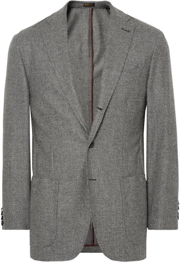 Rubinacci Grey Puppytooth Virgin Wool and Cashmere-Blend Blazer