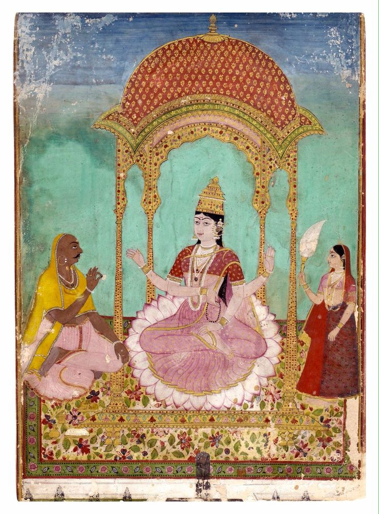 Famous Deccani courtesan and poetess Chandabibi (called Malaqabai) AS A FOUR-ARMED GODDESS  ATTRIBUTED TO RAI VENKATCHELLAM from Sotheby's