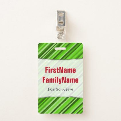 Green Lines/Stripes Pattern; Personalized Name Badge - light gifts template style unique special diy