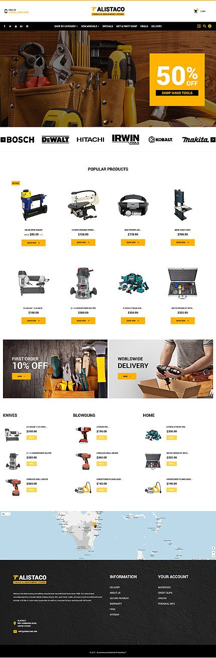 Tools & Equipment website inspirations at your coffee break? Browse for more PrestaShop #templates! // Regular price: $139 // Sources available: .PSD, .PHP, .TPL #LastAdded #Tools #Equipment #PrestaShop