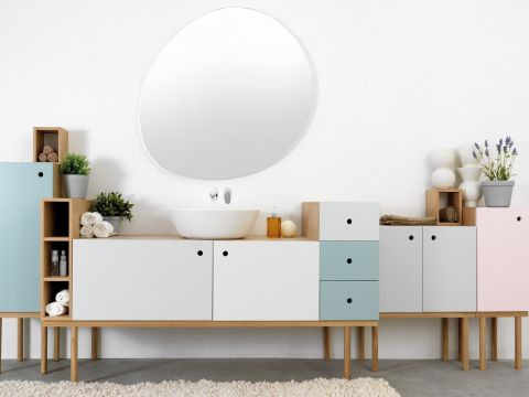 Collage vanity unit accompanied by Collage cabinets