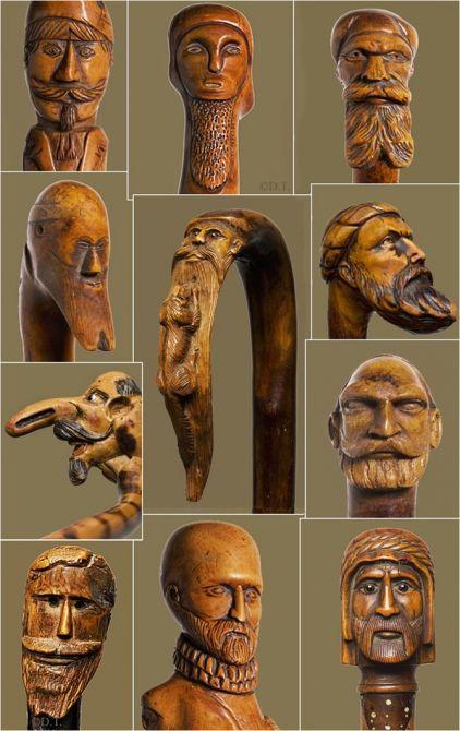 canne, cane, barbe, barbus, bois sculpté, wood, walking stick; stick,