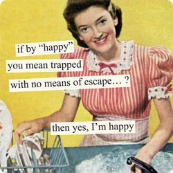 "Magnets from Anne Taintor: if by ""happy"" you mean trapped with no means of escape...? then yes, I'm happyVintage Housewife, Desperate Housewives, Retro Humor, Happy, Mom Humor, Stay At Home, Anne Taintor, Funny, Annetaintor"