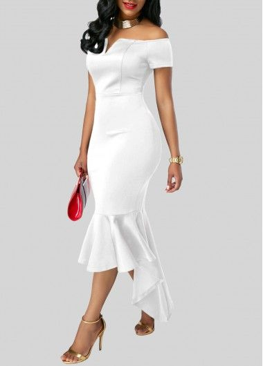 Asymmetric Hem Split Neck White Bardot Sheath Dress | Rosewe.com - USD $33.08