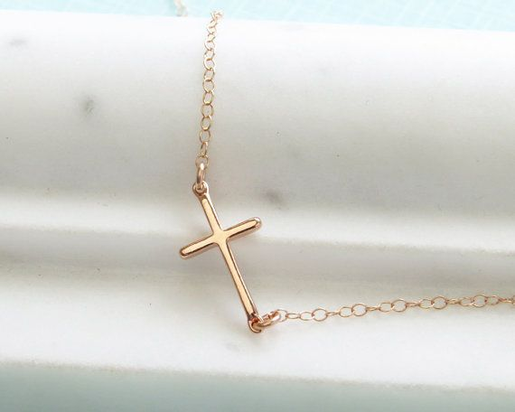 Side Cross Necklace  Sideways Cross  Layering Necklace