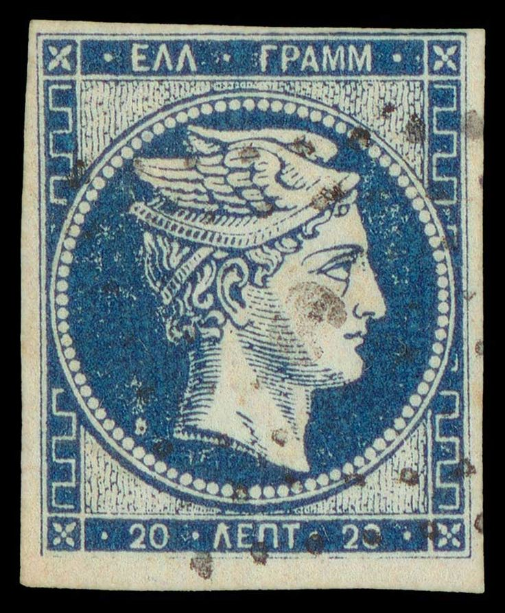 20l. deep blue provisional without CF with quadrille background bearing Pyrgos cds. Three large-very large/one clear margins. A very fine example of this important rarity. (Hellas 8Ib).