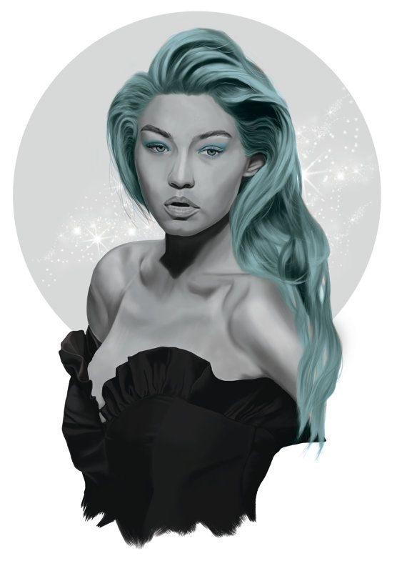 Gigi hadid digital painting celebrity by AlanaMaysCreations on Etsy, green hair, from $15 A5, victoria secret model, long hair, printable wall art, salon art, salon poster, fashion art