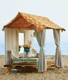cabana with polka dotted roof: Beach Hut, Beaches, Beach House, Idea, Favorite Places, Dream, Cottage, The Beach