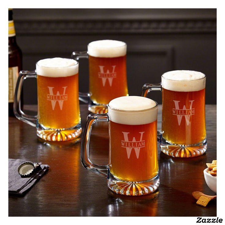 Set of 4 Engraved Oakmont 15 oz. Glass Beer Mugs   Zazzle.com