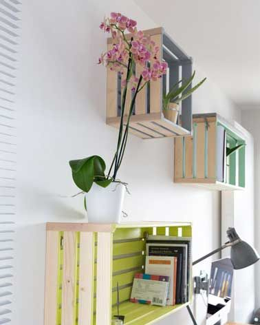 8 astuces rangement pas cher pour la maison caisses en bois caisse et en bois. Black Bedroom Furniture Sets. Home Design Ideas