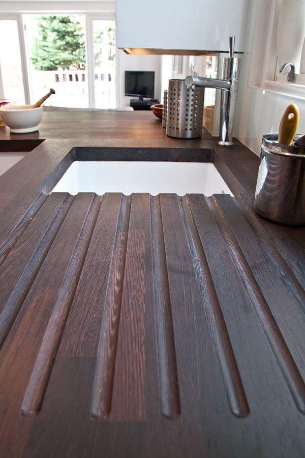 Wenge Arbeitsplatte Mit Ablaufrillen In Moderner Kuche Wenge Holz