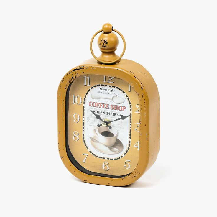 Relógio de Parede Coffee Shop Amarelo | referência 107867894 | A Loja do Gato Preto | #alojadogatopreto | #shoponline