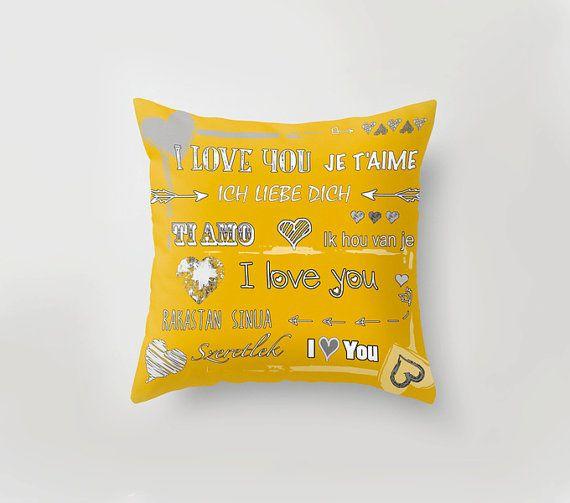#love #pillow #yellow #homedecor #christmas Love pillow Yellow Throw Pillow Typography Pillow by PilipArt