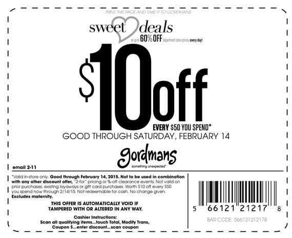 Pinned February 11th: $10 off every $50 at #Gordmans #coupon via The #Coupons App