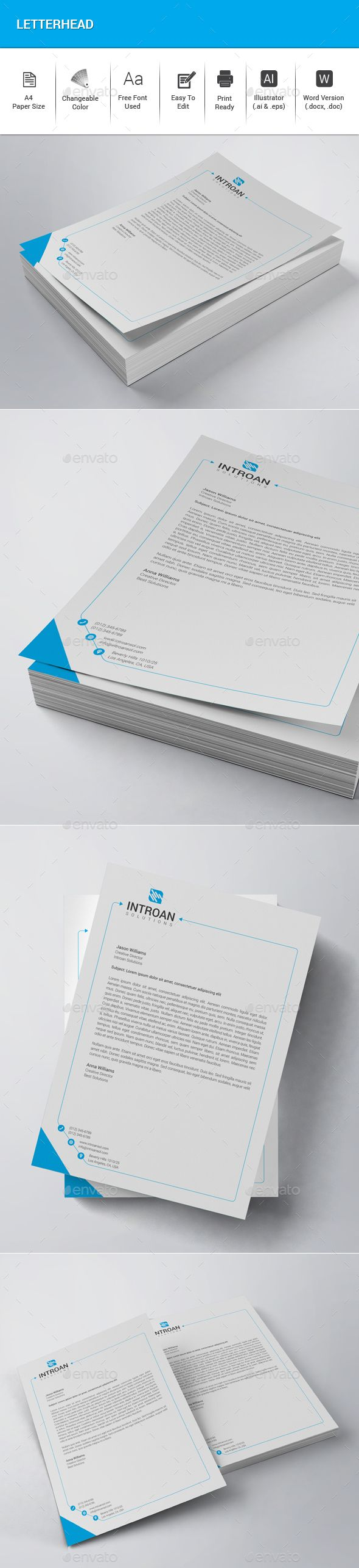 Letterhead Template Vector EPS, AI Illustrator, DOCX & DOC