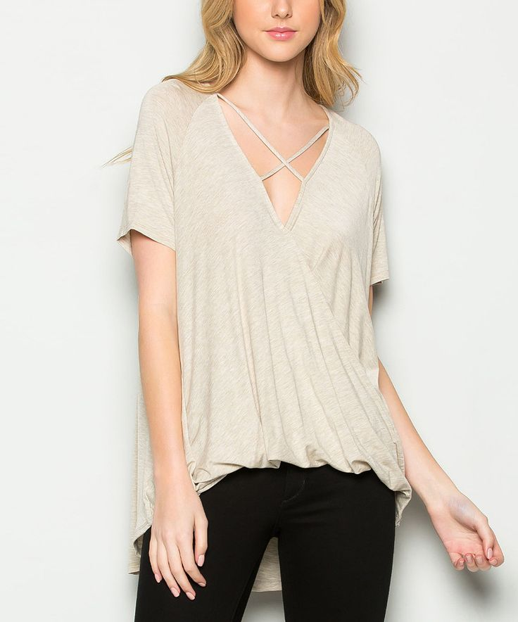 Look at this CY Fashion Oatmeal Strappy Surplice Hi-Low Top on #zulily today!