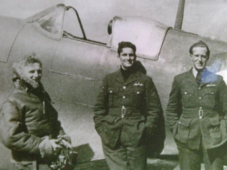 "P/O Allan R ""Ricky"" Wright (left) recounted on the night flying of No 92 Squadron RAF from RAF Bibury between 19 August and 3 September 1940: ""Patrolling in the Spitfire at night was extremely difficult. There were three exhaust stacks on each side of the engine in front, which sometimes shot out flames. This ruined your night vision. We also had no means of homing and had to depend on being picked up by ground radar to be guided back to the airfield."""