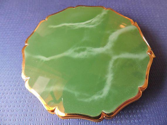 Stratton Green Enamel Marblesque Ladies Vanity Powder w/
