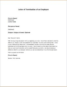 Letter of Termination of an Employee DOWNLOAD at http://writeletter2.com/letter-of-termination-of-an-employee/