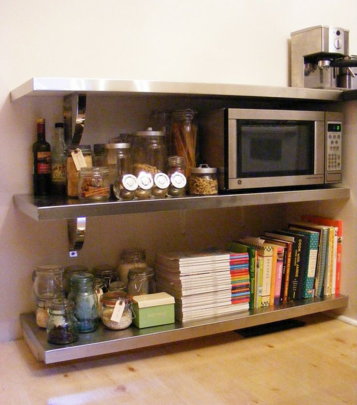Stainless Steel Kitchen Shelves To Keep Your Small Kitchen Appliances:  Conventional Oven Receip Books Seasoning