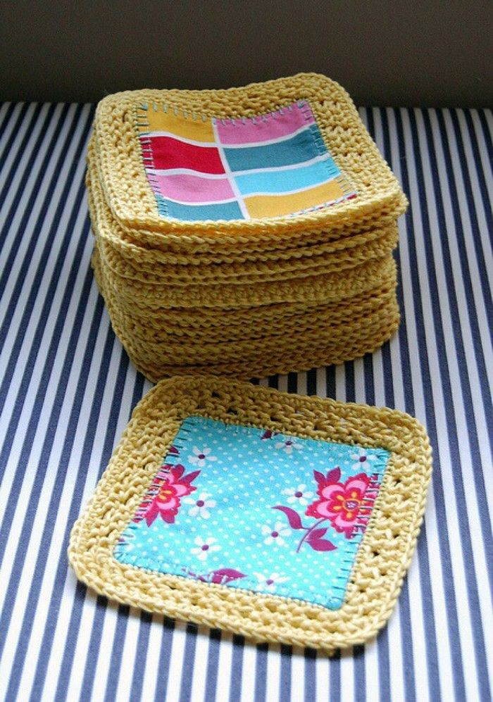 crochet block with fabric (This would be a nice thing to do with fat quarters.)