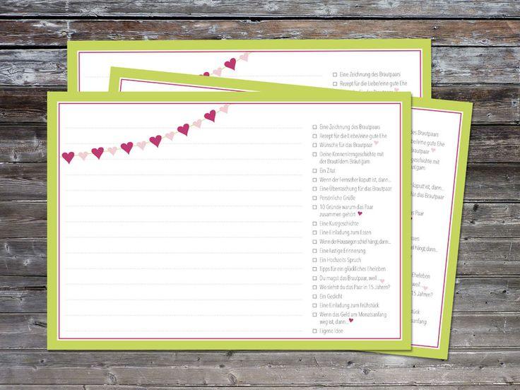 """15,00 52 Hochzeitsspiel-Postkarten """"Herzchen"""" von KUNST[WERK] auf DaWanda.com"""