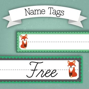 Fox Themed Desk Name Tags - FREE                                                                                                                                                      More