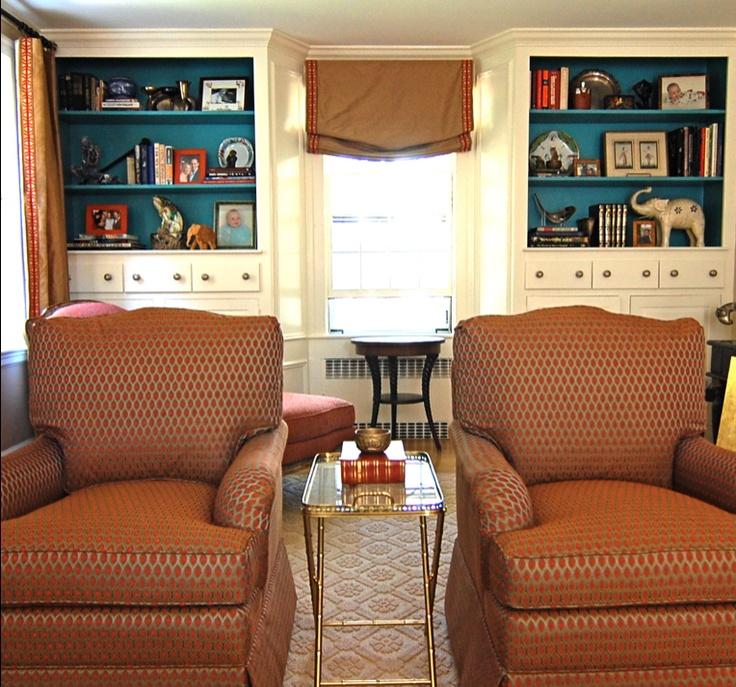 peacock blue bookshelves