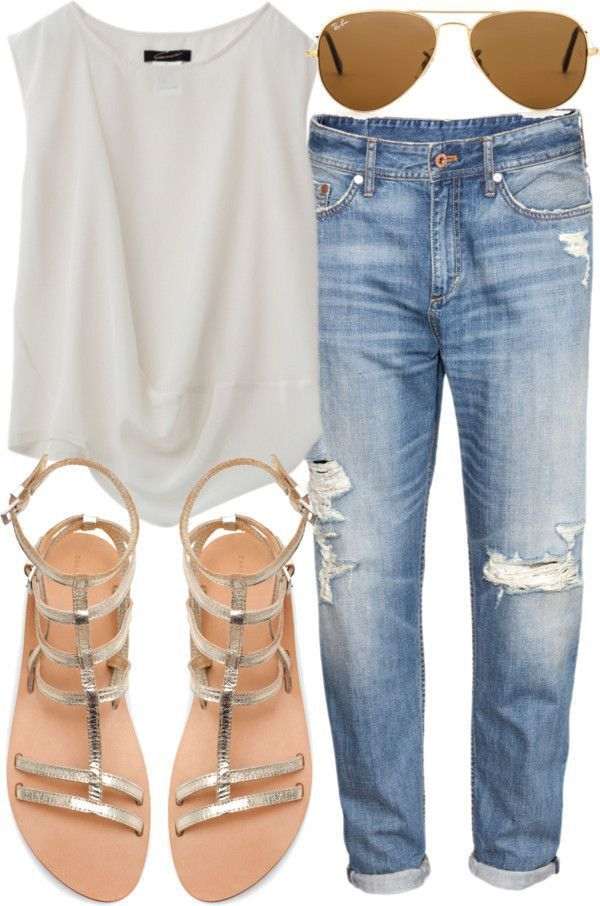simple and casual by wearing a simple white tee, sandals, and aviators. This is a great summer look. how to wear boyfriend jeans
