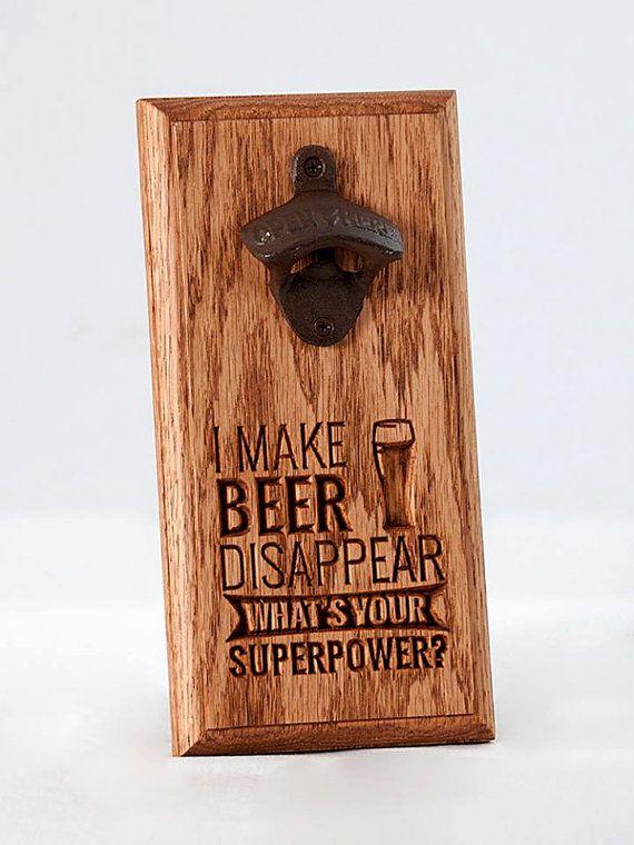 Wall Mount Bottle Opener Engraved Wooden Plaque Unique
