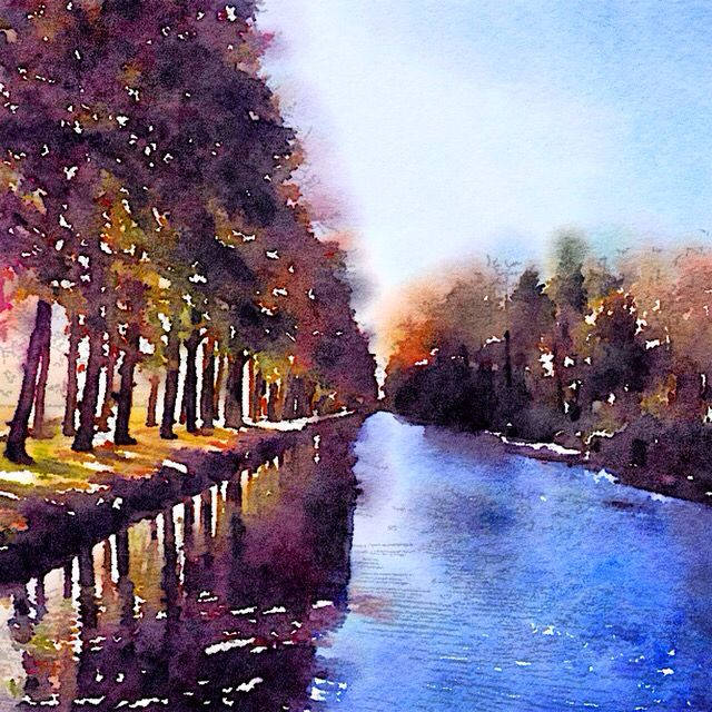 Canal at local castle with water painting effect