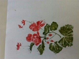 First attempt at lino cutting. Geraniums.