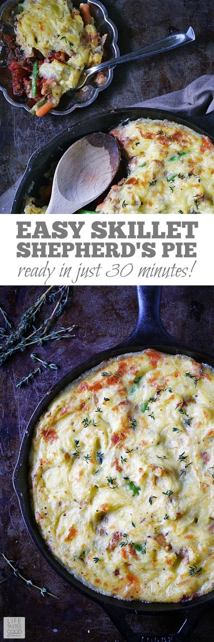 Skillet Shepherd's Pie is a meaty, savory, comfort food classic dish cooked in a skillet for an easy recipe ready in just 30 minutes! This recipe uses fresh ingredients for maximum flavor the whole family will love! Get your Irish on and enjoy this recipe for St. Patrick's Day! by Life Tastes Good #LTGrecipes #shepherdspie #skilletrecipe #beefrecipe #mashedpotatoes #easyrecipe #comfortfood