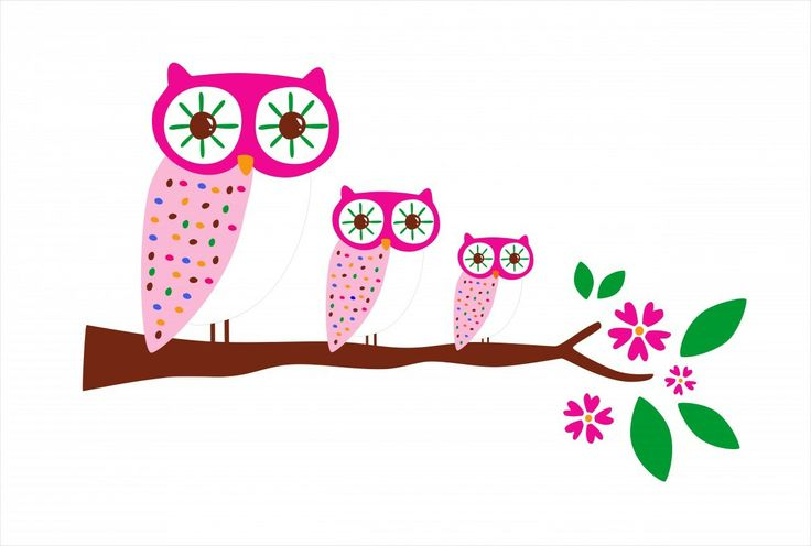 Whimsical Wall Stickers - Three Owls (Decal), $9.95 (http://www.whimsicalwallstickers.com.au/three-owls/)  Three (3) pretty pink patterned owls sitting on a tree branch.    Contents:  stickers and transfer paper  Size: when fully installed: 96 cm X 63 cm (estimated)   Material: Vinyl Fabric  Backing colour: transparent backing