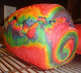 Rainbow bread! I'm sure my husband would love to make his sandwiches for work with this! :P