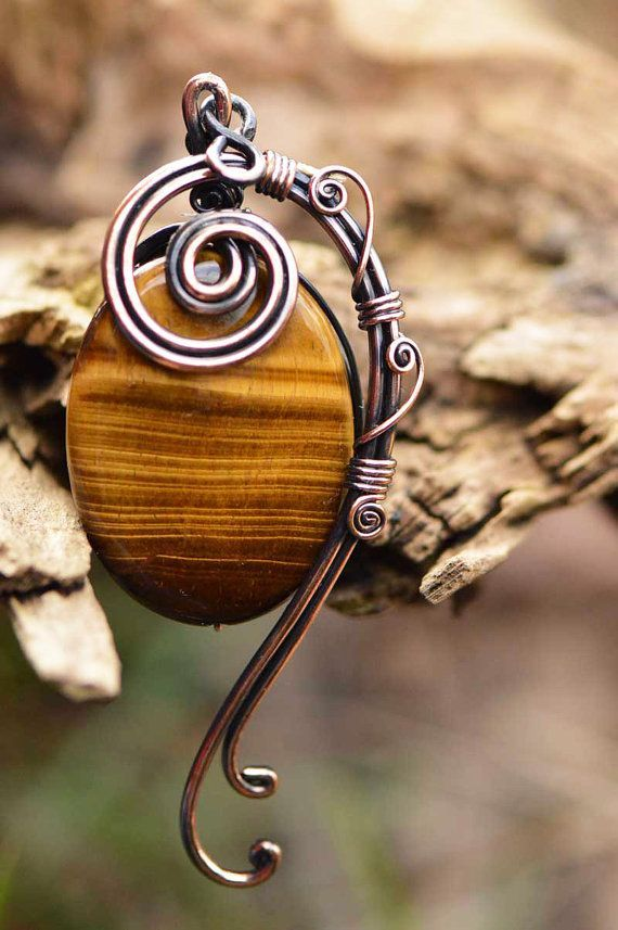 wire wrapped jewelry, copper pendant, tiger eye pendant, copper jewelry, wire wrapped necklace, copper necklace, handmade, gifts for her,