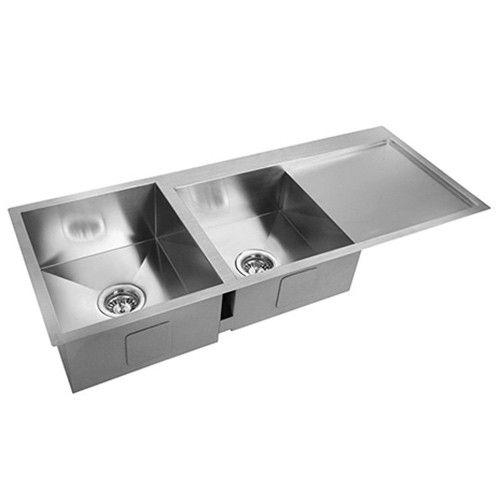 Acciaio Kitchen Sink with Strainer Waste II - Stainless Steel | Milan Direct