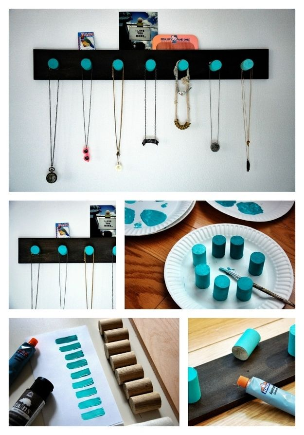 Ombre Wooden Pegs | 25 Clever DIY Ways To Keep Your Jewelry Organized - This post shows you to drill a dowel into segments, paint each a shade of the same hue, then glue to a black backboard for an elegant hanger with a pop of color.
