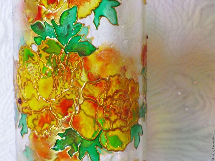 Купить Желтая хризантема, ваза. Витражная роспись - Витражная роспись, контуры по стеклу