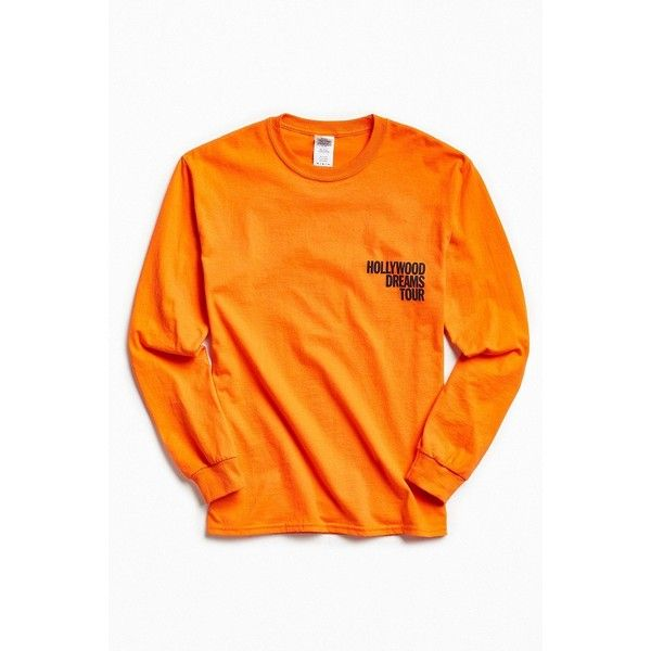 Post Malone Hollywood Dreams Tour Long Sleeve Tee ($48) ❤ liked on Polyvore featuring men's fashion, men's clothing, men's shirts, men's t-shirts, mens cotton shirts, mens long sleeve shirts, mens cotton t shirts, mens crew neck t shirts and mens longsleeve shirts